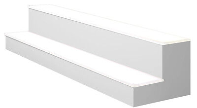 "70"" 2 Tier LED Lighted  Liquor Display Shelf - White  Finish"