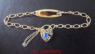 925 Sterling Silver Childs ID Bracelet Heart Padlock With Bluebird Gold Plated