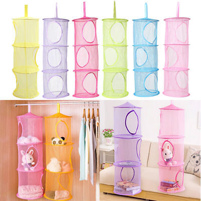 3 Shelf Net Kids Toy Organizer Bag Hanging Storage Bedroom Wall Door Closet