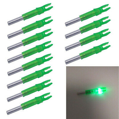 12PK 6.2mm S Lighted Nocks LED Nock For Hunting Recurve Compound Bow Arrow Green