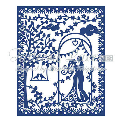 Tattered lace metal cutting die Romance tapestry couple birds D687