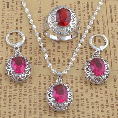 925 silver ruby Fashion 24inch Necklace Pendant+earring jewelry set