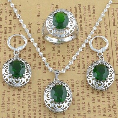 925 silver Emerald Fashion 24inch Necklace Pendant+earring jewelry set