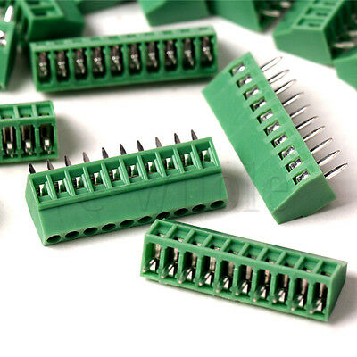 5Pcs 2.54mm Pitch 10 pin Straight Pin PCB Screw Terminal Block Connector DT