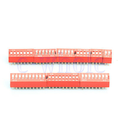 9pcs 2P to 10P Position DIP Switch Side Style 2.54mm Pitch Through Hole DIY DT