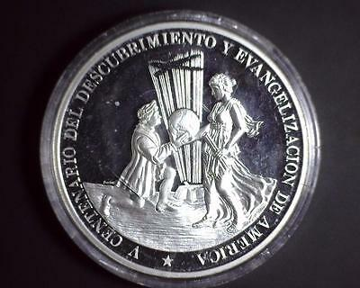 1987 Dominican Republic 500th Anniversary Columbus 5 Ounce .999 Silver 68mm