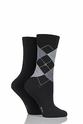 Ladies 2 Pair Burlington Cotton and Plain Socks LIMITED EDITION