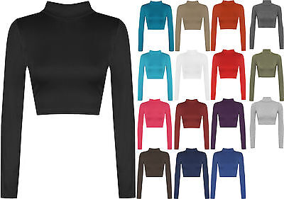 New Womens Turtle Neck Crop Ladies Long Sleeve Plain Polo Short Stretch Top
