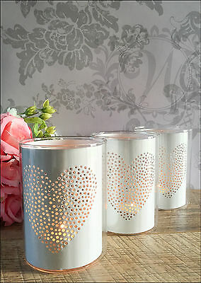 Set of 3 White Heart Pot Votive Tea Light Candle Holder Decoration Glass Metal