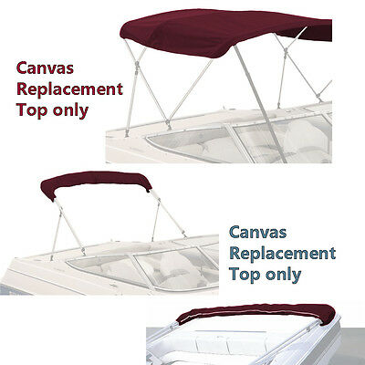 """Bimini Top Boat Cover Canvas Fabric Burgundy W/boot Fits 3Bow 72""""l 46""""h 73""""-78""""w"""