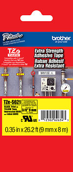 """Brother TZeS621 3/8"""" Black on Yellow Extra Strength Tape for PTD450, PT-D450"""