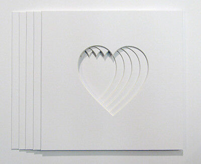 "Pack Five Heart Shaped Photo Mounts to Fit 23cm x 23cm  frames 5""x5"" window"