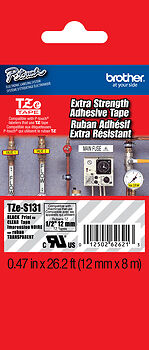 """Brother TZeS131 1/2"""" Black on Clear Extra Strength Tape for PT6100, PT-6100"""