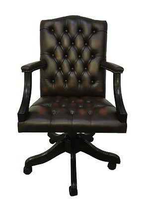 Chesterfield Real Leather Gainsborough Swivel Office Chair Antique Brown