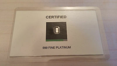1gr 1 one  Grain .999 fine Platinum - SSB South Sydney Bullion Certified