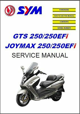 SYM GTS / Joymax 250 - 250 EFi Scooter Service Manual on a CD