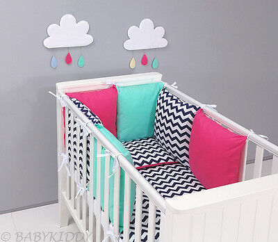 15 pcs LUXURY BABY BEDDING SET FOR COT with PILLOW BUMPER / REVERSIBLE *NEW*