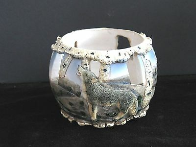 Howling Wolf Tea Candle Holder