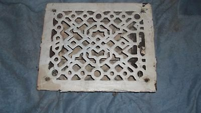 Antique Cast Iron Floor Heat Register/Vent/Grate  Geometric  w/Dampers-  11 by 9