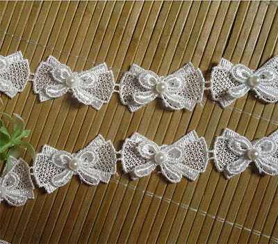 1yd Vintage Butterfly Bow Pearl Lace Edge Trim Wedding Ribbon Applique DIY Craft