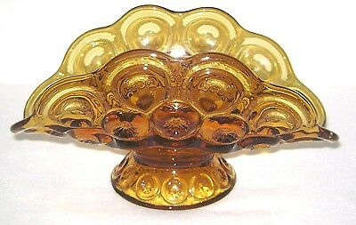 Vintage L.E. Smith Moon & Stars Amber Glass Centerpiece Banana Bowl
