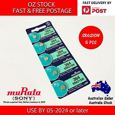 5x MURATA (SONY) SR621SW 364 1.55v Button Coin Cell Silver Oxide Battery Watch