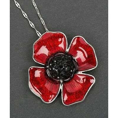 Poppy Remembrance Necklace Pendant Jewellery Equilibrium Collection. Free Delive