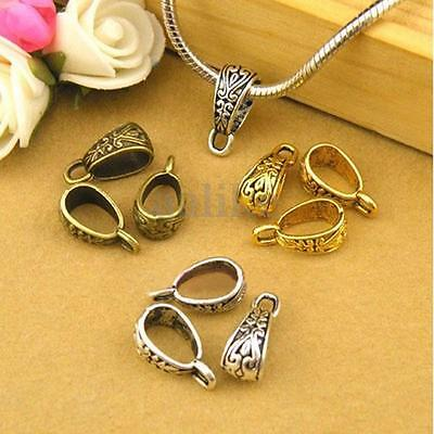 20X Plated Tibetan Triangle Charm Pendant Bail Connector Clasps Necklace Bead