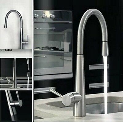 Deck Mounted Brushed Nickel 360° Swivel Kitchen Sink Faucet Pull Out Mixer Tap