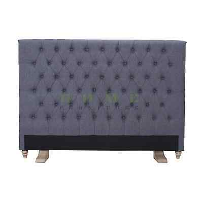 Brand New Various Size Upholstered Headboard Grey Colour Fabric Bed Head - Prado