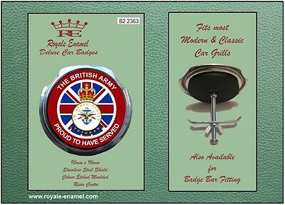 Royale Car Grill Badge + Fittings - THE BRITISH ARMY PROUD - B2.2363