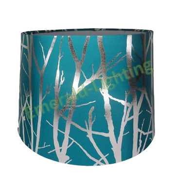 "Teal Blue Lampshade Tree Branch Effect 11"" Empire Drum Ceiling Table Lamp Shade"
