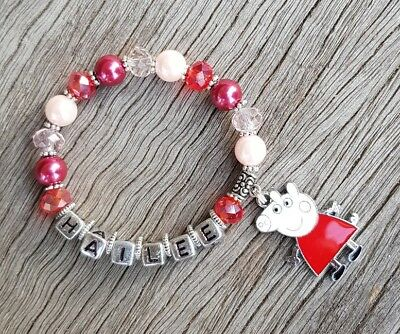 Girls Personalised Name - PEPPA PIG Inspired Charm Bead Bracelet Party Favour