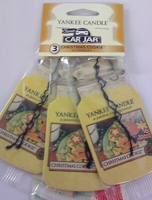 Yankee Candle Christmas Cookie 3 Pack Car Jar Air Freshener -Stocking Fillers