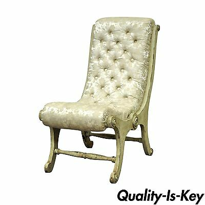 Vintage Japanese Obi Chair Slipper Carved Wood Distress Painted Accent Chair