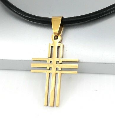 Gold Matrix Gothic Celtic Cross Stainless Steel Pendant Black Leather Necklace