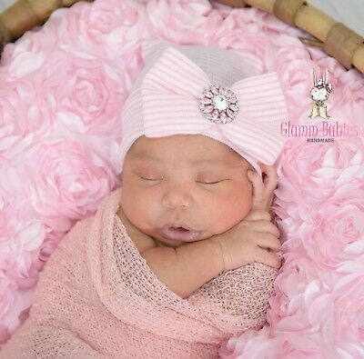 Cute Newborn Baby Infant Girl Toddler Comfy Hospital Cap Beanie Hat PINK flower