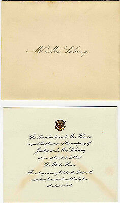 Herbert Hoover White House Invitation. Rare