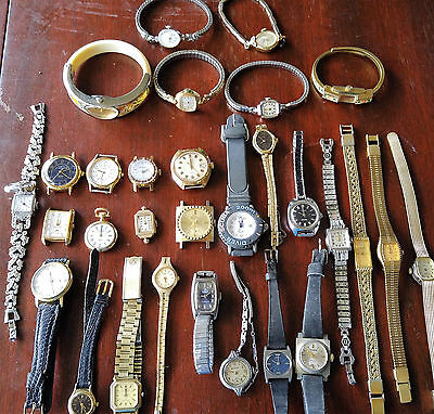 Lot 30 Vintage To NowWatches Quartz Mechanical See Description For Brands