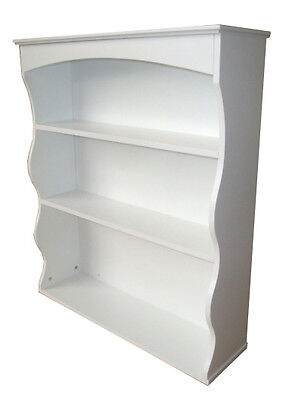Wall Mounted Shelf Unit White 3 Book Shelves Ideal for Bedroom Kitchen