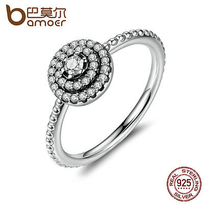 Bamoer Elegance S925 Sterling Silver Ring with Clear Crystal For Women size 6-9