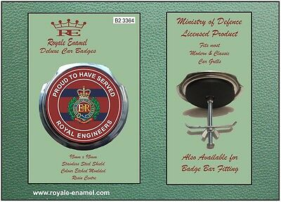 Royale Car Grill Badge + Fittings - CORPS OF ROYAL ENGINEERS PROUD - B2.3364