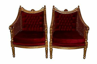 Pair of Nicely Carved Gilt Gold Louis XV/ French Style Tufted Arm Chairs