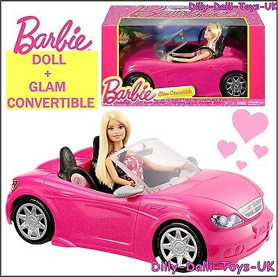 NEW Barbie Glam Convertible Doll & Car Included Pink Glitter Sports Car & Figure