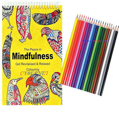 Adult Anti Stress Therapy Spiral Colouring Book  + 18 PREMIUM COLOURING PENCILS