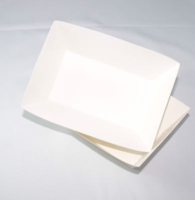 "150 pcs Paper Tray for potato fries 6""x4""x1.75"" foldable rectangular white paper"