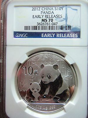 """2012 China Panda 1 Oz. Silver Coin NGC MS70 """"Early Releases"""" Blue Label"""