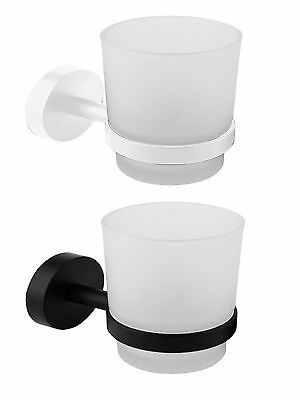 Croydex Bathroom Toilet Accessory Frosted Glass Toothbrush Tumbler Holder Black