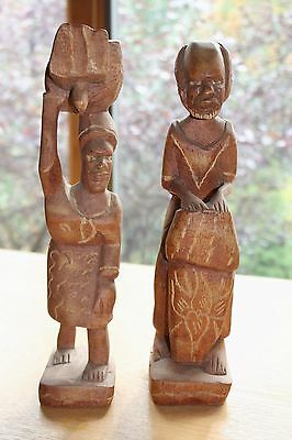 Vintage African Native Tribal Carved Wood Figurines Man Woman Pair Set Of 2