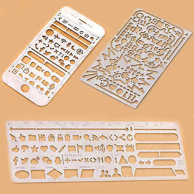 Portable Hollow Stainless Steel Number Stencil Icon Tool Ruler Gift Stationery